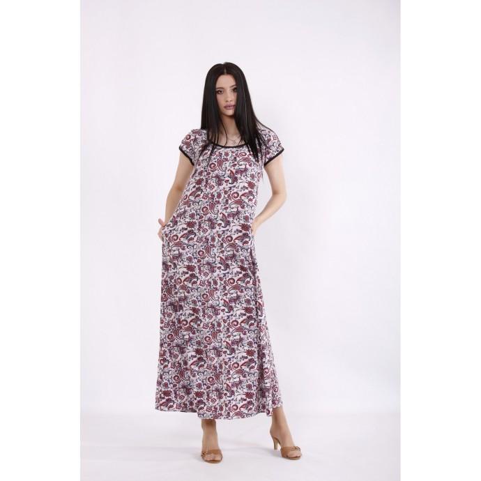 Длинное платье с красным принтом КККC0023-01512-1
