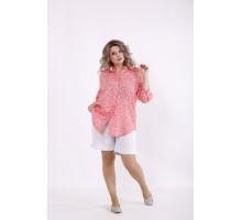 Коралловая рубашка с цветочками и белые шорты КККC0027-01510-3