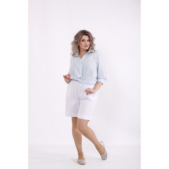 Голубая рубашка с сердечками и белые шорты КККC0028-01510-2