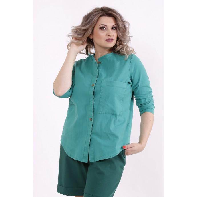 Зеленая льняная рубашка КККC0031-01509-2