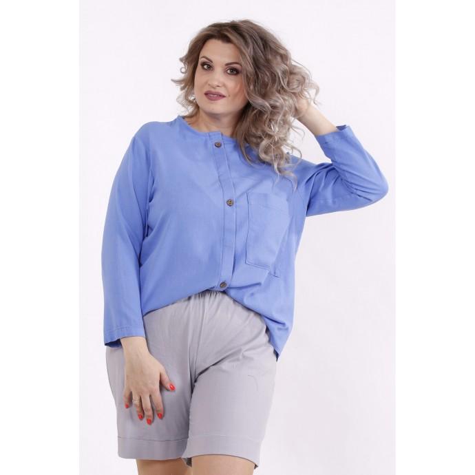 Голубая льняная рубашка КККC0032-01509-1