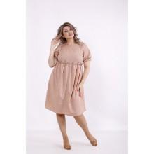 Бежевое платье в горошек КККC0034-01508-2
