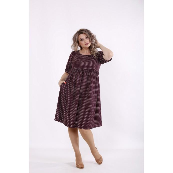 Бордовое платье в горошек КККC0035-01508-1