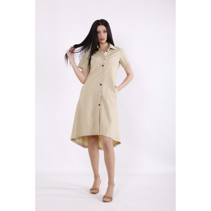 Горчичное платье-рубашка КККC0044-01505-1