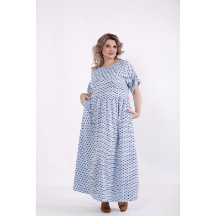 Голубое платье в горох КККC0046-01504-2