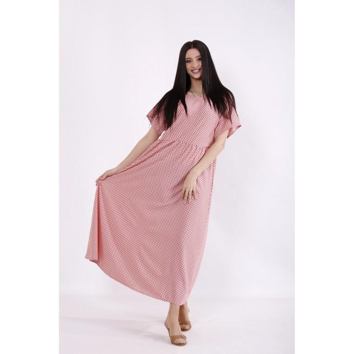 Персиковое платье в горох КККC0047-01504-1