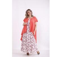 Коралловый комплект: платье и накидка КККC0050-01503-1