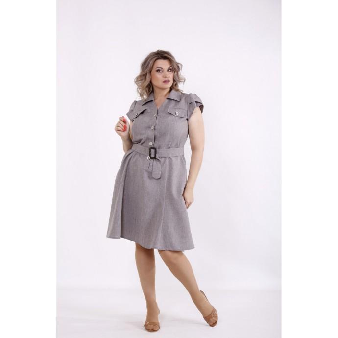 Горчичное платье с пышной юбкой КККC006-01517-3