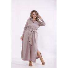 Бежевое длинное платье с поясом КККC0051-01501-3