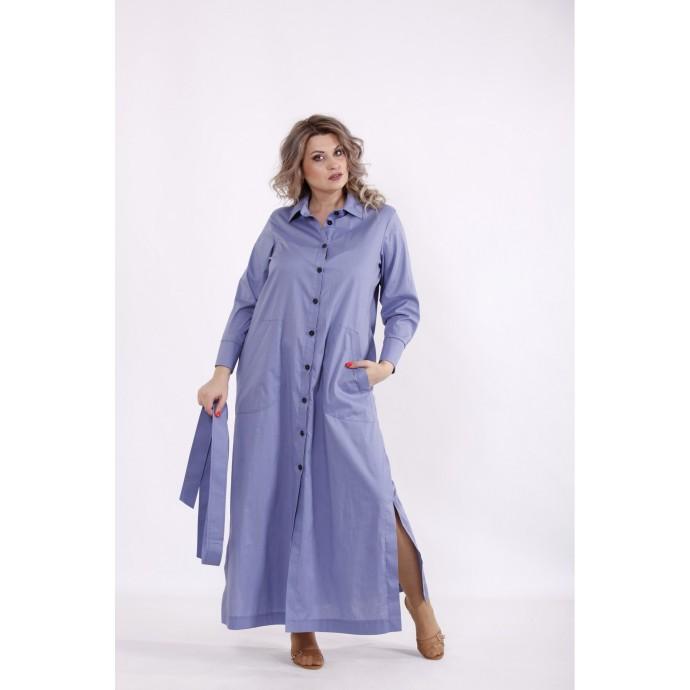 Голубое длинное платье с поясом КККC0052-01501-2