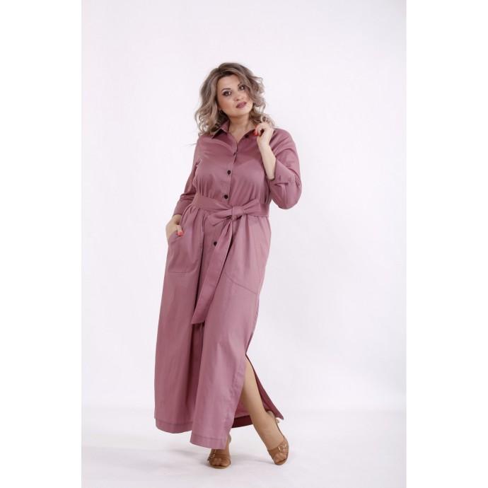 Бисквитное длинное платье с поясом КККC0053-01501-1