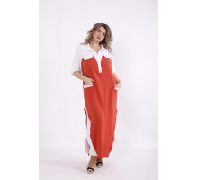 Терракотовое платье с карманами КККC0064-01497-2