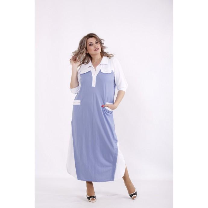 Голубое платье с карманами КККC0065-01497-1