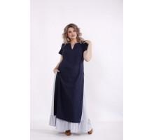 Льняной комплект: синяя туника и юбка КККC0067-01496-2