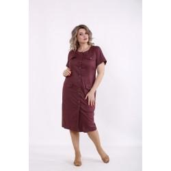 Сливовое платье-рубашка ниже колена КККC009-01516-3