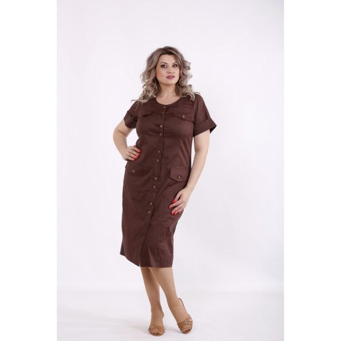 Шоколадное платье-рубашка ниже колена КККC0010-01516-2