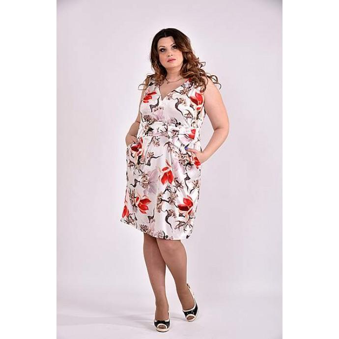 Платье принт бежевый 42-74 размер ККК360-0476-3