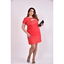 Коралловое платье 42-74 размер ККК356-0478-1