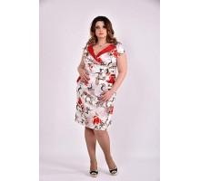 Платье бежевый принт 42-74 размер ККК36-0495-3