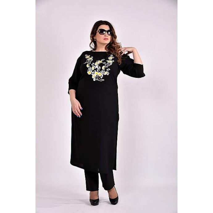 Черная блузка-туника  42-74 размер ККК33-0496-2