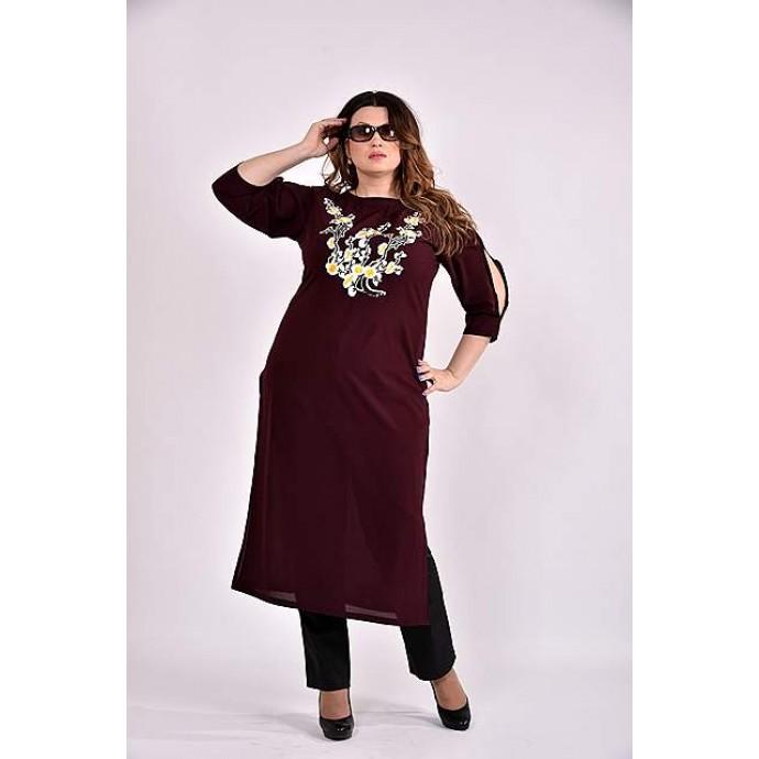 Бордовая блузка-туника 42-74 размер ККК32-0496-3