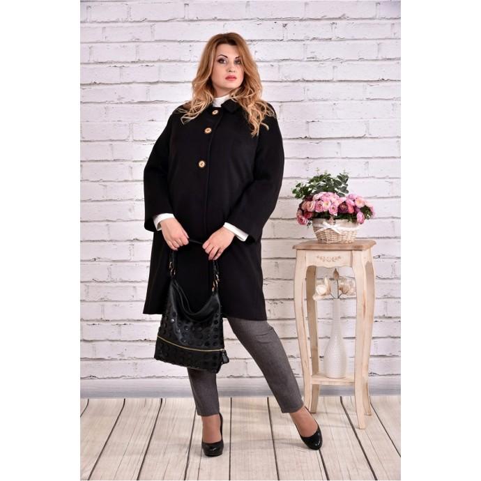 Демисезонное черное пальто короткое ККК9919-0614-3