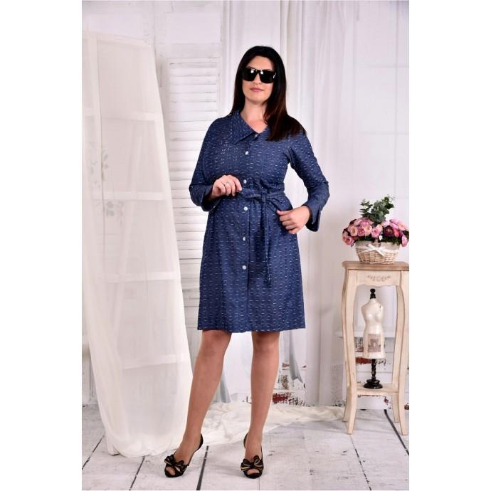 Платье-рубашка синее ККК253-0579-2
