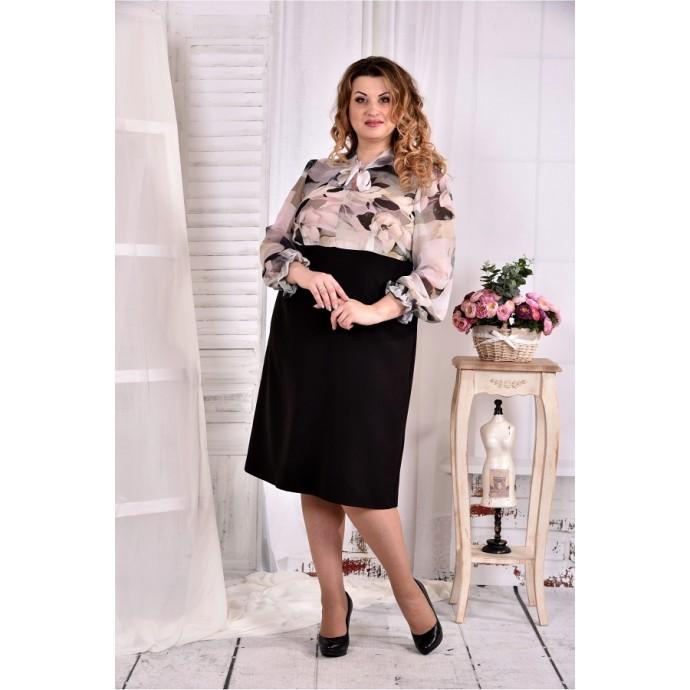 Черное платье с шифоном ККК248-0581-1
