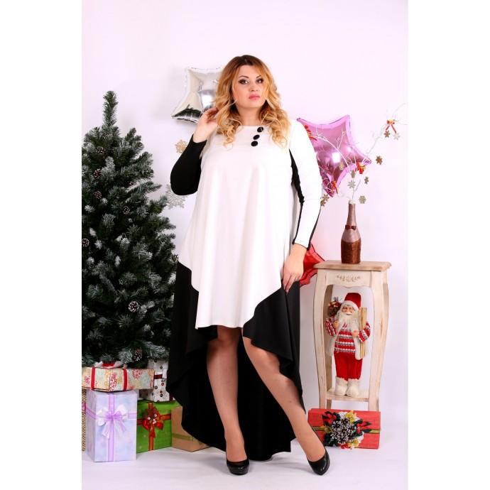Черно-белое асимметричное платье ККК112-0668-2