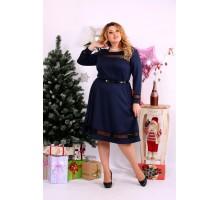 Синее платье с сеточкой ККК1112-0664-1