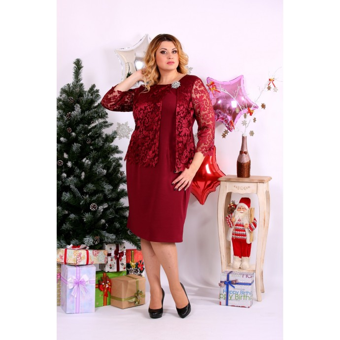 Бордовое платье с брошью ККК1118-0662-1