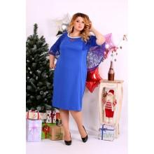 Синее  платье с гипюром ККК1120-0661-1