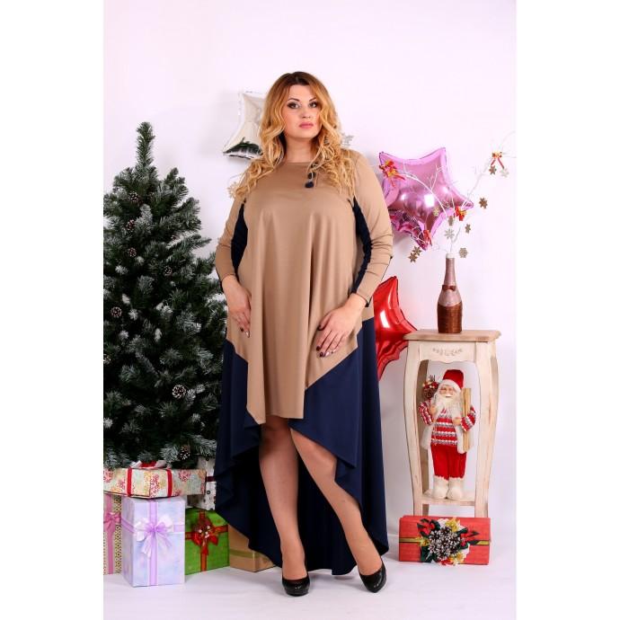 Платье бежевое с синим и удлинением сзади ККК113-0668-1