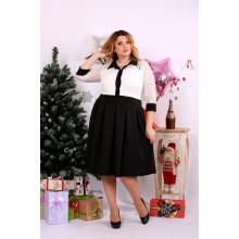 Черно-белое платье со свободной юбкой ККК1124-0659-2