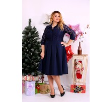 Синее пышное платье ККК1125-0659-1