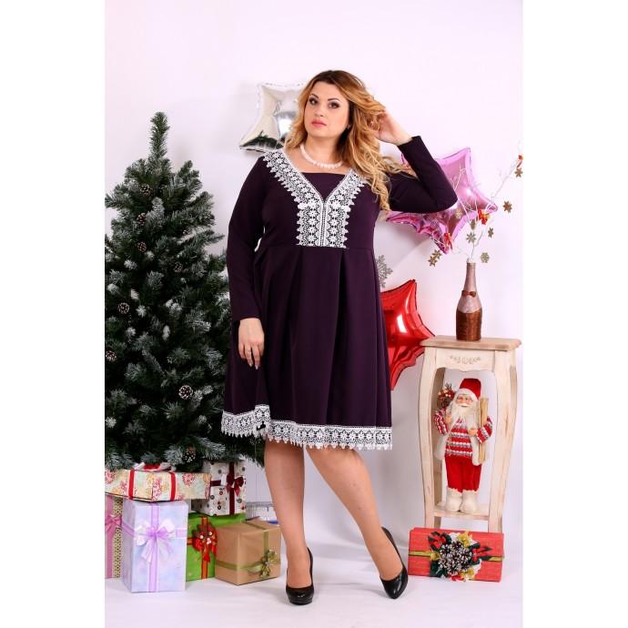 Баклажановое платье ККК1127-0658-2
