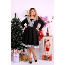 Черное платье с белым кружевом ККК1128-0658-1