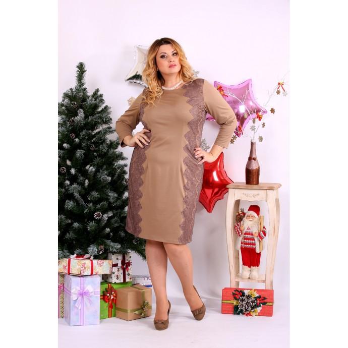 Золотое платье с гипюром ККК1130-0657-2