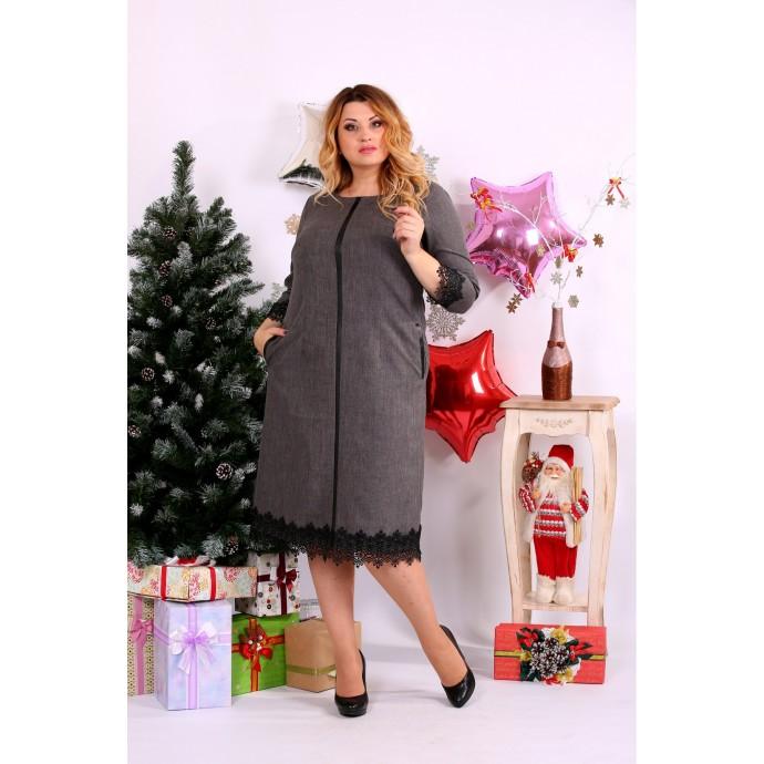 Прямое серое платье с кружевом ККК1133-0656-2