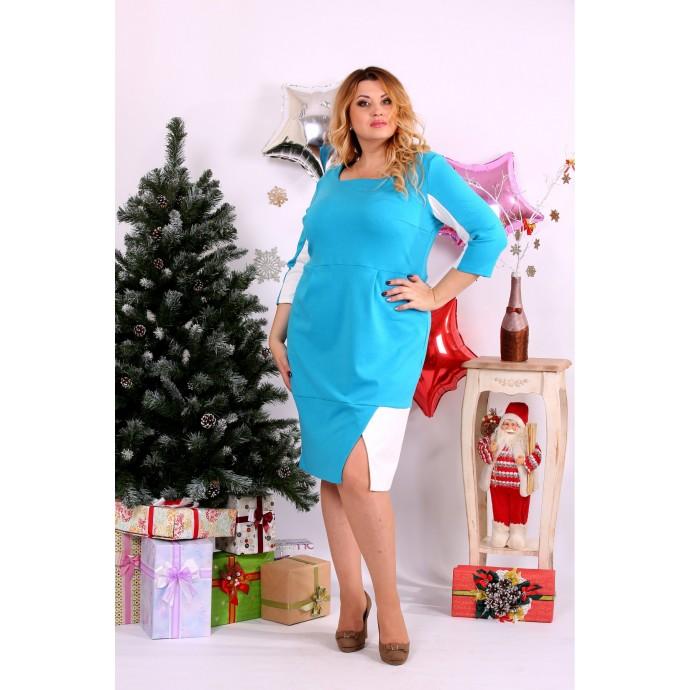 Голубое с белым платье ККК115-0667-2