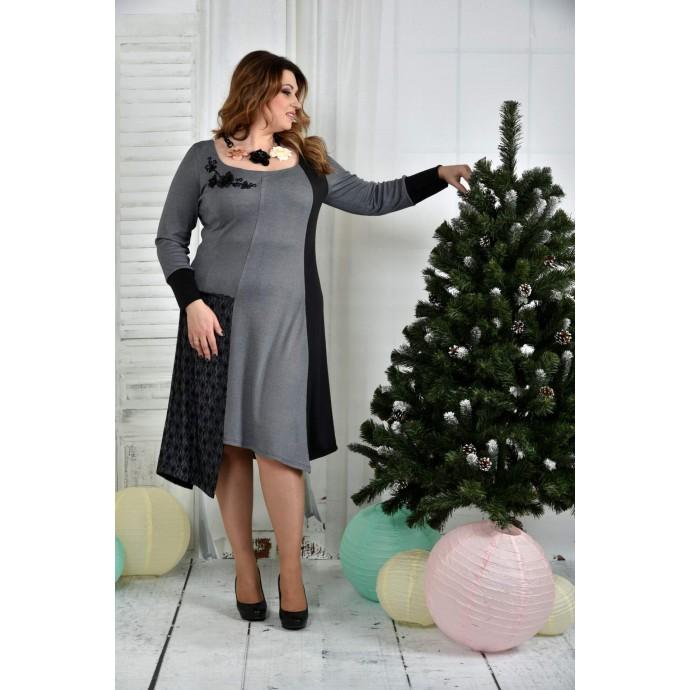 Серое платье ККК750-0376-2