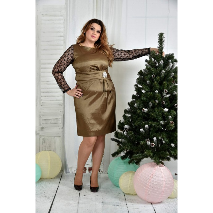 Горчичное платье 42-74 размер ККК729-0385-3