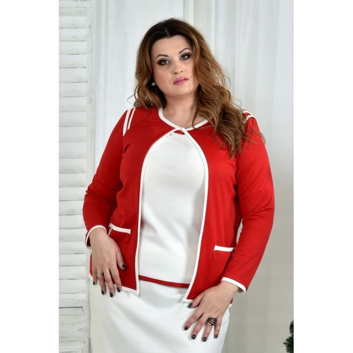 Белая блузка с красной отделкой 42-74 размер ККК77-0392-3