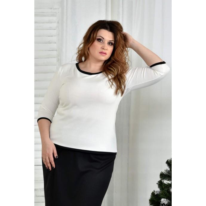 Блузка белая с черной отделкой 42-74 размер ККК78-0392-2