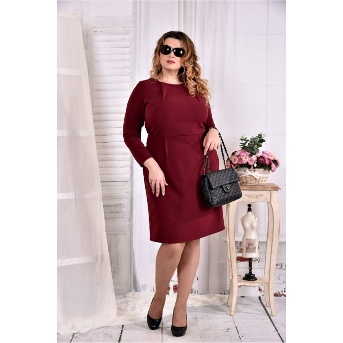 Бордовое строгое платье ККК273-0573-3