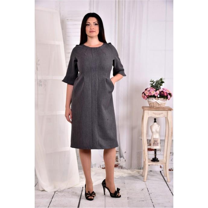Серое прямое платье ККК284-0569-1