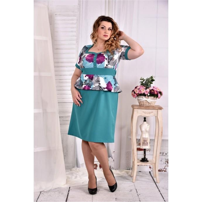 Бирюзовое платье с баской ККК268-0575-2