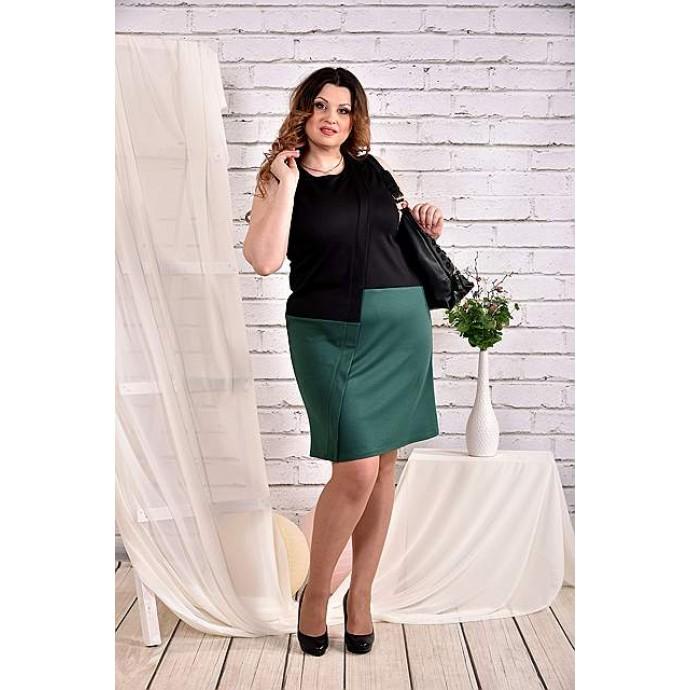 Платье черное с зеленым 42-74 размер ККК438-0462-2