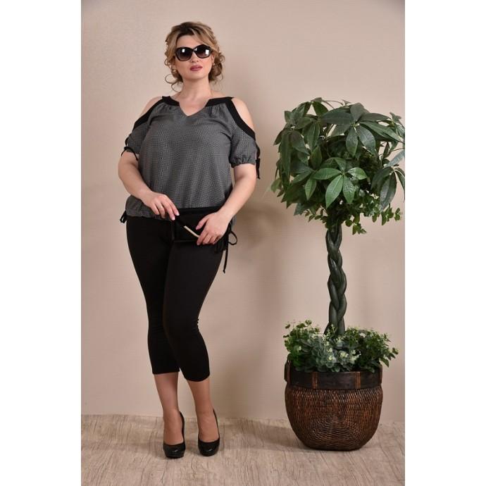Блузка женская серо-черная  ККК1-0234-2