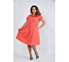 Коралловое платье ККК1035-0507-2